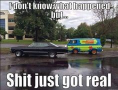 Baby and The Mystery Machine. RuhRoh!  SPN, Supernatural