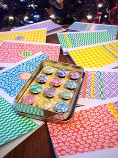 origami paper notecards & marble magnets