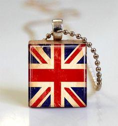Union Jack scrabble tile pendant