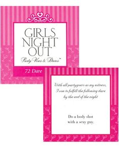 Girls Night Out Party Vows & Dares Game, Bridal shower or Bachelorette www.KarnationLingerie.com
