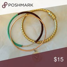 Bangles - Good Things Come In Three! Handmade bangle set features upcycled materials such as gold leather cord, wire wrapping and a dainty copper bangle with a heart charm.   Add these adorable bangles to any summer outfit for an effortlessly chic look!  Fits small to medium wrists. Jewelry Bracelets