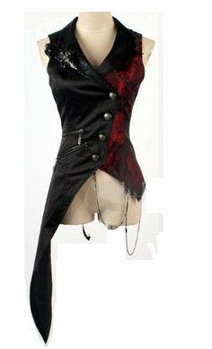Festliche Weste Punk Rave Visual Kei Lolita Gothic asymmetrisch neu schwarz rot (S(Herren), Schwarz): Amazon.de: Bekleidung
