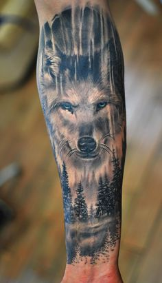 Wolf tattoos are still one of the most popular tattoo ideas for men. Wolf tattoos have many meanings. Some men choose wolf tattoos because they symbolize strength, freedom and the instinct of primitive animals Nape Tattoo, Wolf Tattoo Sleeve, Full Sleeve Tattoos, Neck Tattoos, Tattoo Wolf, Wolf Tattoo Forearm, Mens Forearm Tattoos, Tattos, Wolf Tattoos For Women