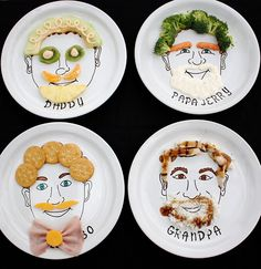What a fun way to get your kids to eat, let them play with their food! Dollar Store Crafts » Blog Archive » Make Food Face Plates.