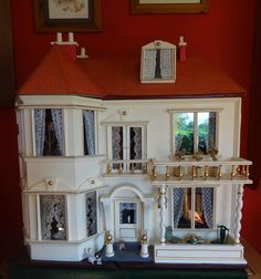Rare Barley Twist fully furnished G&J Lines Dolls House 1910 with elevator.