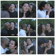 Steven Yeun (Glenn Rhee)  Farewell kisses.  The Walking Dead Season 7 You'll be truly missed.