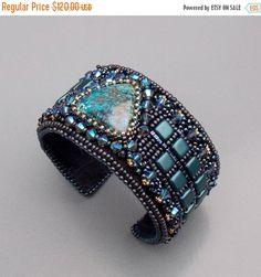 Check out Birthday discount Bead Embroidery,  Bracelet,  Cuff ,   Seed beads jewelry,  Swarovski,   Azurite,   Fashion jewelry,  Blue,  Gunmetal, on vicus