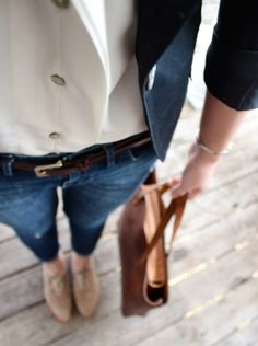 Sheer top + blazer + skinnY + oxfords. Love them!