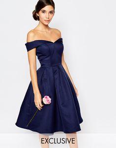 Image 1 ofChi Chi London Midi Prom Dress with Full Skirt and Bardot Neck