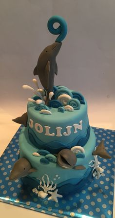 Dolphin birthday cake - Dolfijnen verjaardag taart