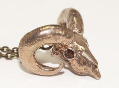 Ram Skull Pendant  3d printed Brass Pendant
