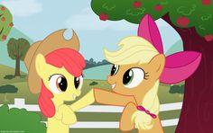 Applebloom with Applejack's Hat  Applejack with Applebloom's Bow