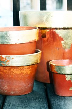 DIY gold leaf terracota pots (can be leafed with both gold and silver leafing to add more of a color variety). Great summer gift ideas!