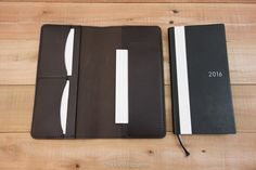This slim Hobonichi Techo Weeks leather cover features two card pockets and one receipt pocket so your valuable wallet sized planner will be easy to carry.