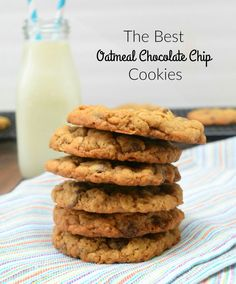These Oatmeal Chocolate Chip Cookies are a buttery, chewy, chocolatey sweet bite!