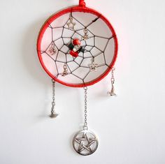 Red Gemstone Dream-Catcher With Silver Star Moon by TattooedRoZe