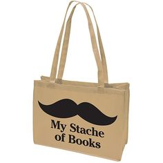 Demco® Upstart® My Stache of Books Browsing Bag Book Lovers Gifts, Gift For Lover, Nerd Gifts, Book Purse, Book Bags, Marketing Merchandise, School Purse, Bag Quotes, Gifts For Bookworms