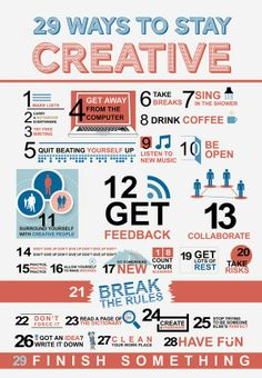 "The ""29 Ways To Stay Creative"" infographic illustrates the creative process and methods to keep a person moving forward and motivated to keep doing more. Information is repurposed from various online sources and experts to whom we show our gratitude for their contributions."