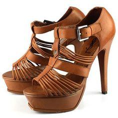 Yves Saint Laurent Brown Leather Platform Sandal