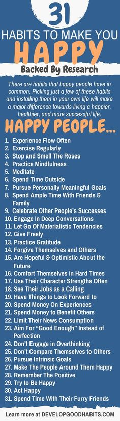 31 Habits to Make You Happy