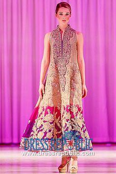 Antique Gold Petunia - DR8950, Pakistani Long Pishwas, Pakistani Long Frock Styles, Pakistani Long Dresses by www.dressrepublic.com