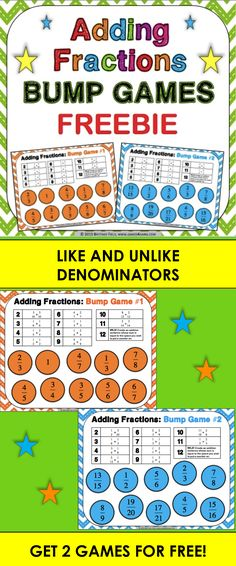 FREE Adding Fractions Bump Games contains 2 different bump games to help students practice adding fractions with like and unlike denominators. These bump games are so simple to use, and take a minimal amount of prep. Simply print out the game sheet, get 2 dice, and 20 counters, and you'll be ready to go!