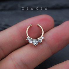 fake septum ring septum jewelry septum ring spike fake by CioXio