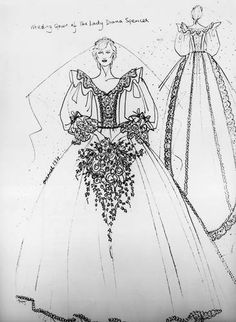 """Designers David and Elizabeth Emanuel were selected to produce the wedding dress for Lady Diana Spencer. When describing the dress, designer Elizabeth Emanuel says, """"I always think of a beautiful butterfly emerging from a chrysalis."""""""