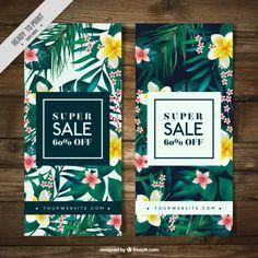 Banners de rebajas de vegetación tropical Vector Gratis