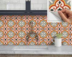 Wall Tile Vinyl Decal Sticker for Kitchen Bath Stair-Riser Waterproof & Removable Peel n Stick: Marrakech Orange Tile Decals, Wall Stickers Murals, Wall Tiles, Tile Stencils, Tiles Uk, Dalle Pvc, Kitchen Wallpaper, Backsplash Wallpaper, Stair Risers