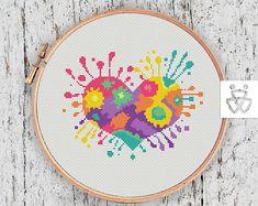 Cross stitch pattern pdf Heart Splash Valentine's gift #CrossStitchPattern #CrossStitchPatternPDF #CrossStitch #Yelka #YelkaName #YelkaStudio