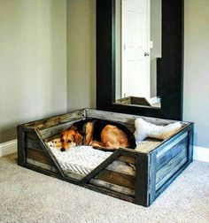 Rustic Pallets Wood Dog Bed - 40+ DIY Pallet Dog Bed Ideas - Don't know which I love more | 101 Pallet Ideas