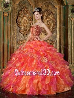 Colorful Ruffled Strapless Beading and Sequins Dress for Sweet 15