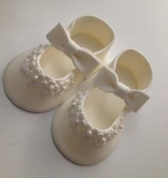 white Fondant shoes cake toppers by Ninettacakes on Etsy