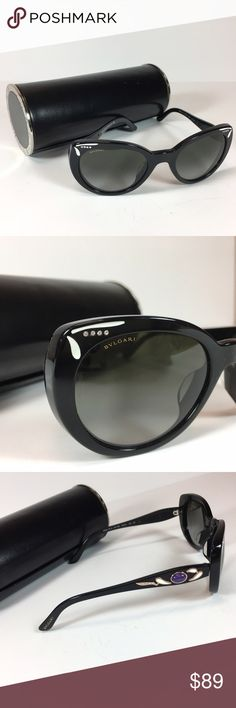 Bvlgari Sunglasses Black frames with jewel detail. Includes case. In great condition, no scratches on lens. Bvlgari Accessories Sunglasses
