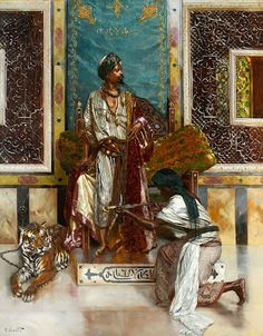 """Rudolf Ernst (Vienna, 1854 - Paris, 1932) The presentation of the sword at Pacha Oil on panel signed lower left """"R. Ernst"""" Height: 99 Width: ..."""