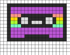 Cassette Tape Purple Perler Bead Pattern | Bead Sprites | Misc Fuse Bead Patterns