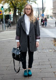 """I like dress shirts and big knits"" -lina. I concur & I want to steal her handbag."