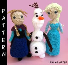 Frozen Bundle Amigurumi Pattern free by Philae Artes, crochet croche crochê movie toy doll patron, elsa, anna, olaf