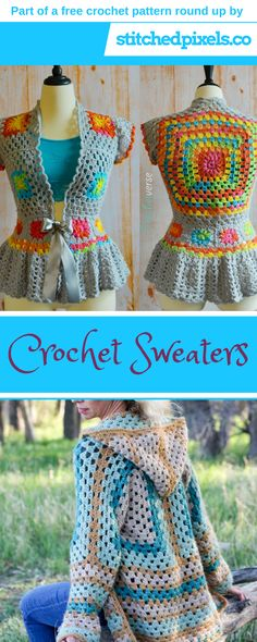 Free crochet pattern round up - Make your own warm and cozy sweater, cardigan or cocoon with this list of the best free crochet sweater patterns out there! #CrochetPatterns