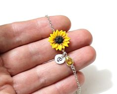 Sunflower Personalized Initial Disc Bracelet Bracelet Sunflower Bridesmaid Jewelry Sunflower Jewelry Bridal Flowers Bridesmaid Bracelet by NikushJewelryArt on Etsy - June 15 2019 at Cute Jewelry, Body Jewelry, Wedding Jewelry, Jewelry Box, Jewelery, Jewelry Bracelets, Silver Jewelry, Jewelry Accessories, Jewelry Making