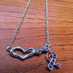 New in package Veterans Heart & Crystal Necklace