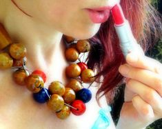 Linen Necklace Tagua Nut Necklace Asymmetric Necklace by ReTeTeer