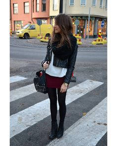 Circle Scarf, Motorcycle Jacket, Sweater, Mini Skirt, Tights, & Boots