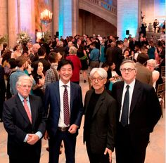 Kodansha celebrated 50 years of business in the U.S. with a gala on September 19 at the New York Public Library. Pictured here (l.-r.): Peter Grilli, Kodansha president and CEO Yoshinobu Noma, composer Ryuichi Sakamoto, and John Wheeler.  Photo courtesy Kodansha USA