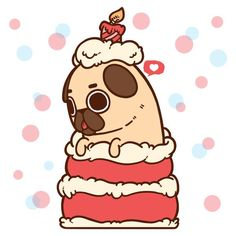 The official Puglie Pug website and store! Cute Animal Drawings, Kawaii Drawings, Cute Drawings, Happy Birthday Pug, Birthday Cake, Pug Wallpaper, Iphone Wallpaper, Pug Cartoon, Pug Art