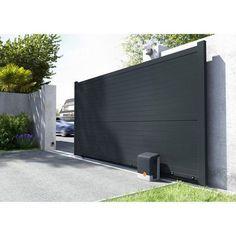 Portail coulissant aluminium Lima gris anthracite PRIMO, cm x cm - Telescope Home Gate Design, House Main Gates Design, Front Gate Design, Door Design, Exterior Design, Gate Designs Modern, Modern Fence Design, Entrance Gates, House Entrance