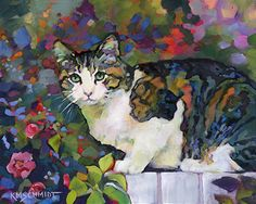 Just Landscape Animal Floral Garden Still Life Paintings by Louisiana Artist Karen Mathison Schmidt: Tabasco fauve impressionist tabby & white garden c...