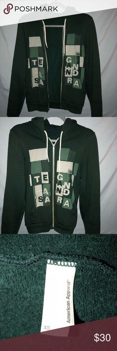 Rare Tegan and Sara The Con Hoodie XS 2008 Tour Tegan and Sara hoodie from the Con tour in 2008 Size XS printed on American Apparel, forest green You cannot find one like this anymore, it is out of print! Some wear but gives it that vintage broken-in feel American Apparel Tops Sweatshirts & Hoodies