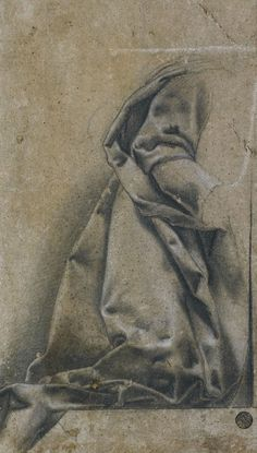 FLORENTINE SCHOOL, c.1600, STUDY OF DRAPERY..., Black chalk heightened with white chalk on faded gray-green paper, 293 x 174 mm | http://www.sothebys.com/en/auctions/ecatalogue/2008/old-master-drawings-n08403/lot.111.html | http://lapis-exillis.livejournal.com/87720.html?thread=442024